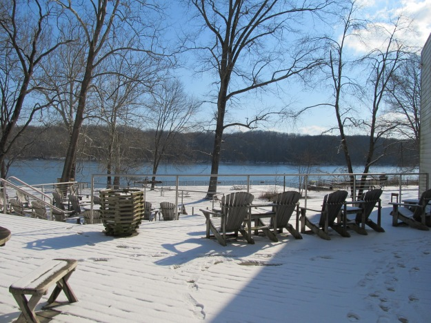 The view from the deck at Riverbend Park is always beautiful, especially in winter.