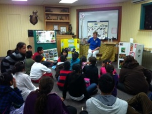 Suzanne Holland teaches children about reptiles and amphibians at Hidden Oaks Nature Center.