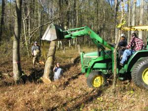 A tractor moves heavy logs into place.