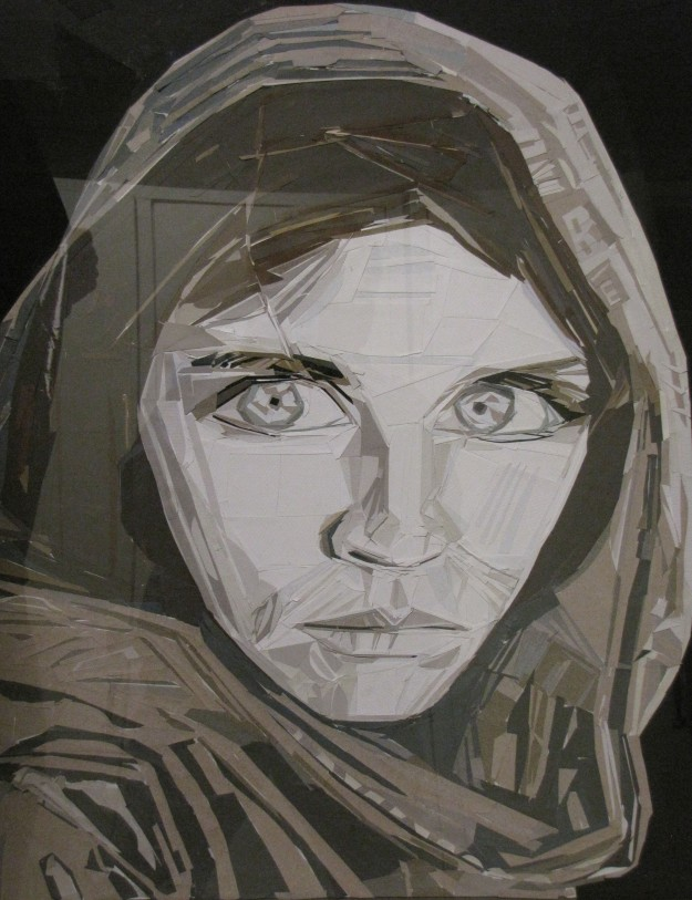 Thigpen recreated the famous Afghani Girl from the cover of 1985 National Geographic using small pieces of cut paper.