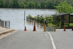 The boat ramp closes when water levels get too high to safely launch.