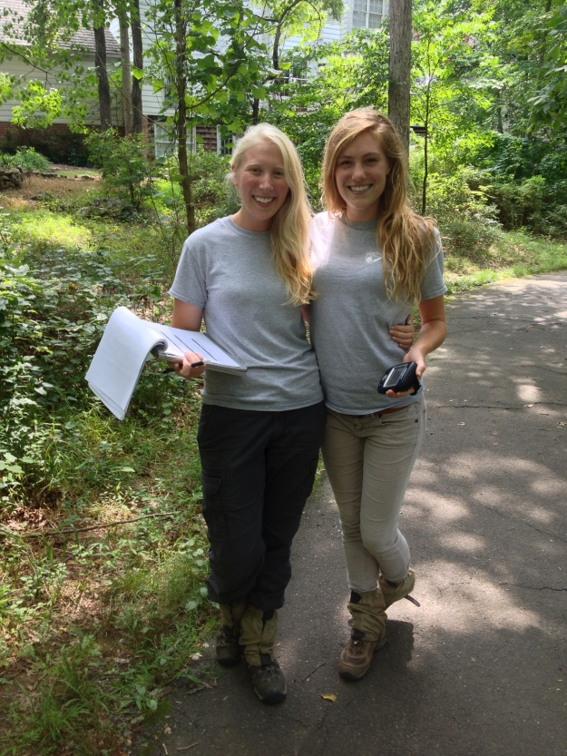 Interns Caitlin Lundquist  (right) and Melissa Letosky spent the summer in the field.