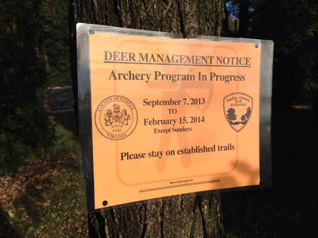 Fairfax County Deer Management Sign