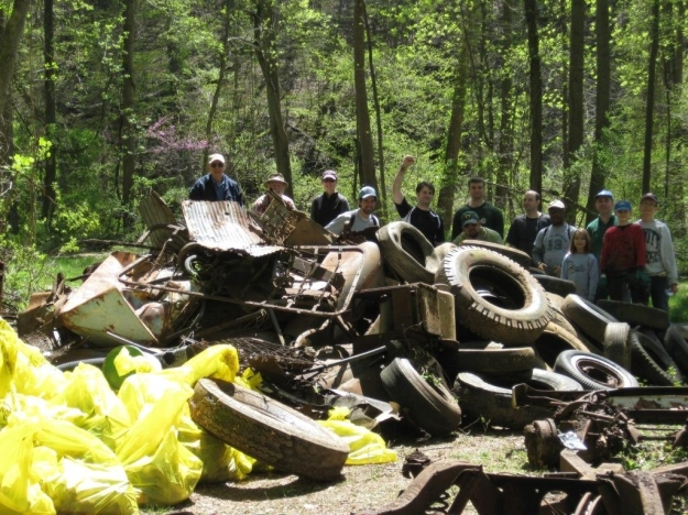 Volunteers make a difference during a stream clean-up at Holmes Run Stream Valley Park.