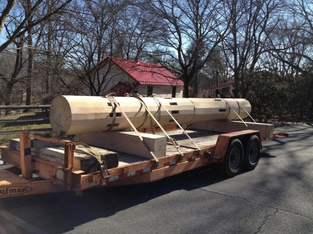 A new main shaft was delivered to Colvin Run Mill Historic Site.