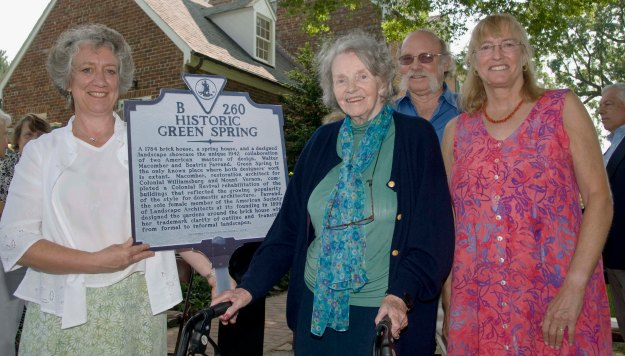 At marker dedication on June 12, 2010: Green Spring Gardens Site Manager Mary Olien, Dr. Belinda Straight, her son Michael Straight, Jr., and his wife, Audrey