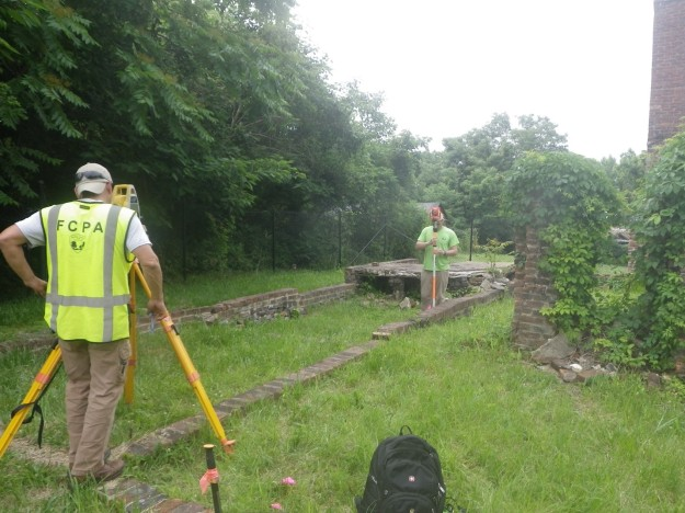 FCPA archaeologists establish grid for 2019 archaeological investigation.