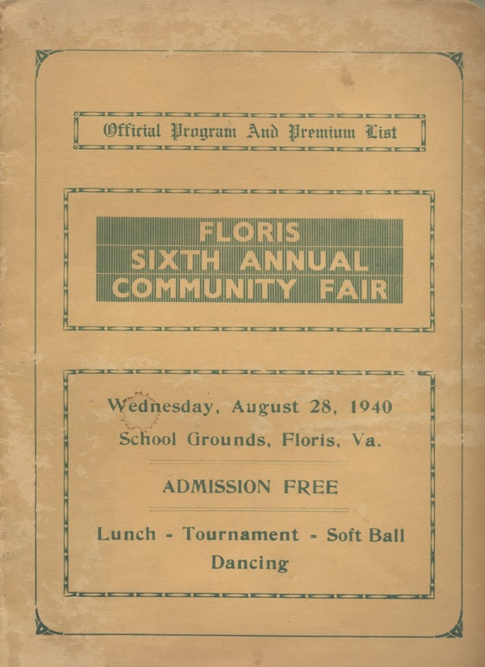Floris Sixth Annual Community Fair pamphlet from August 28, 1940